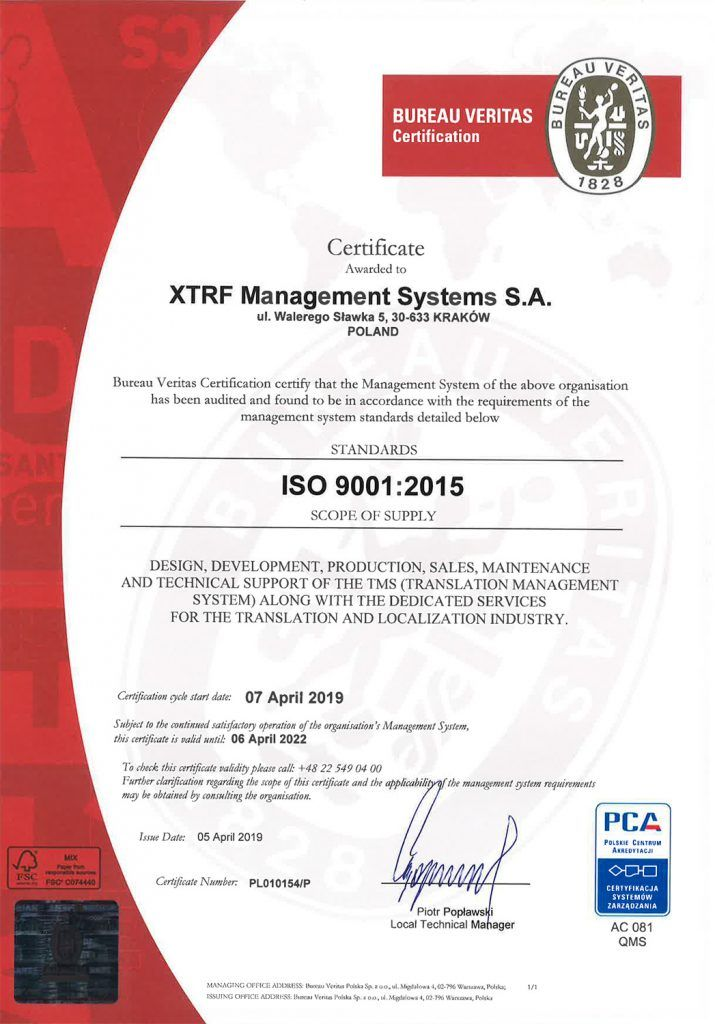 XTRF > ISO 9001:2015 Certificate